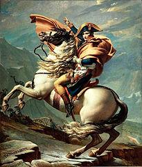 『ベルナール峠からアルプスを越えるボナパルト』 J.L.ダヴィッド 1801年