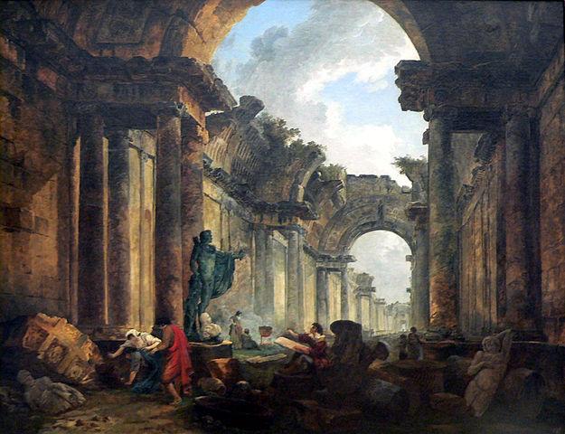 『廃墟となったルーヴルのグランド・ギャラリーの想像図』 ユベール・ロベール画 1796年