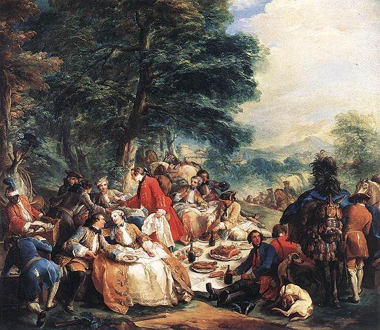 『狩猟の合間の昼食』 シャルル=アンドレ・ヴァン・ロー画 1737年