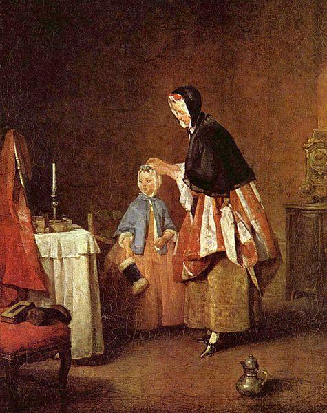 『朝の身繕い(部屋着)』 シャルダン画 1741年