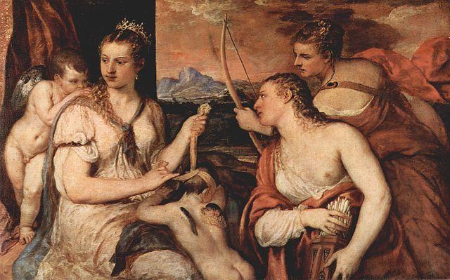『キューピッドに目隠しをするヴィーナス』 ティツイアーノ・ヴェチェリオ 1565年頃