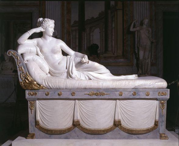 『勝利のヴィーナスとしてのパオリーナ・ボルケーゼ』 アントニオ・カノ―ヴァ 1804年ー1808年 ボルケーゼ美術館