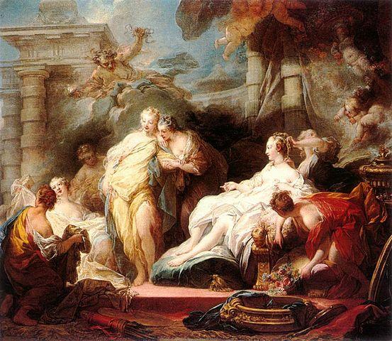 『キューピッドからの贈り物を姉たちに見せるプシュケ』 ジャン・オノレ・フラゴナール 1753年 ロンドン、ナショナル・ギャラリー蔵