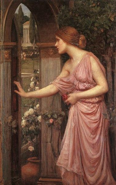 『クピドの庭に入るプシュケ』 ジョン・ウィリアム・ウォーターハウス 1903年 ハリス・ミュージアム・アンド・ギャラリー蔵