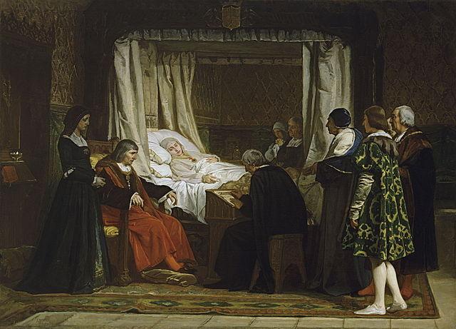 『イサベル女王の遺言』 エドゥアルド・ロサレス  1864年 プラド美術館蔵