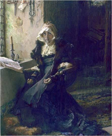 『トルデシリャスの宮殿に幽閉中のフアナ』 1907年 フランシスコ・プラディーリャ