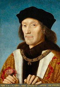 1506年夏   この絵は、当時、最初の妻エリザベスに死別していた48歳のヘンリー7世が、神聖ローマ皇帝マクシミリアンの娘に求婚するための「見合い肖像画」として、1505年に制作されたものであるが、皇帝父娘もこの容貌に信用ならぬものを感じたのか、縁談はまとまらなかった。 (『イギリス美術』 高橋裕子(著) 岩波新書 P30)      この年の夏、イングランド、ブルゴーニュ両国間の協定が破綻の兆しを見せ始めていた。サヴォイ公の未亡人マルグリット・ドートリッシュが、イングランド王の財力に目が眩んだ親兄弟の勧めにも耳を貸さず、ヘンリーとの再婚話を撥ねつけたのである。フィリップ大公が凱歌を上げて入国したカスティーリャでは、大公とその義父フェルナンドの間で王位継承をめぐる止む気配のない諍いが続いていた。そして9月25日、大公は突然に変死を遂げたのである。あるイタリア人大使によれば「何かを食べた」後急逝したという。 (『冬の王 ヘンリー7世と黎明のテューダー王朝』 トマス・ペン(著) 陶山昇平(訳) 彩流社 P259)