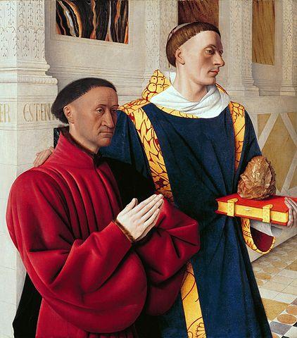 『エティエンヌ・シュヴァリエと聖ステバノ』(ムランの二連祭壇画左翼)