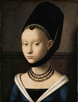 ぺトルス・クリストゥス画。1470年頃のエナンの装着例