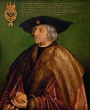 マクシミリアン1世(1459年3月22日 - 1519年1月12日) 1519年 アルブレヒト・デューラー 美術史美術館蔵