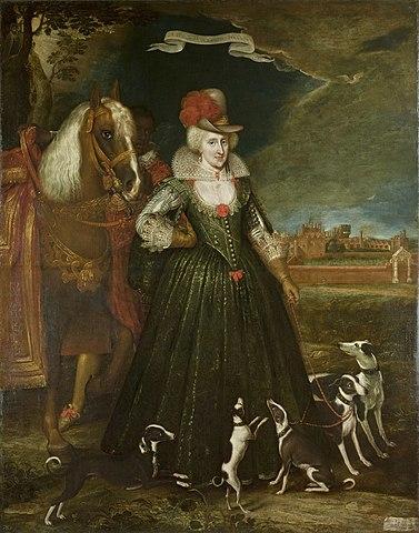 『ジェイムズ1世王妃アン』 1617年 パウル・ファン・ソーメル ハンプトン・コート宮殿蔵