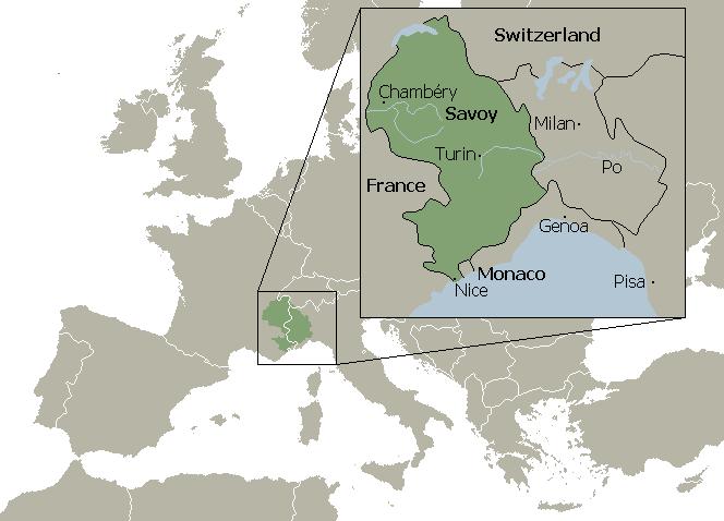 16世紀のサヴォイア公国。白線は現国境