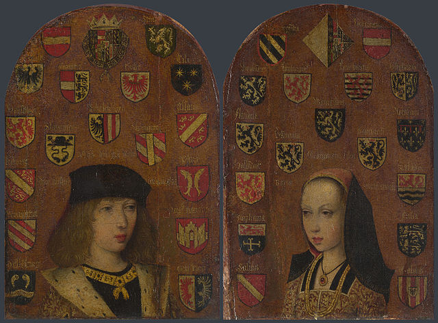 フィリップ美公とマルグリット・ドートリッシュ 1494年頃 恐らくPieter van Coninxlooの作品 ロンドン、ナショナル・ギャラリー蔵