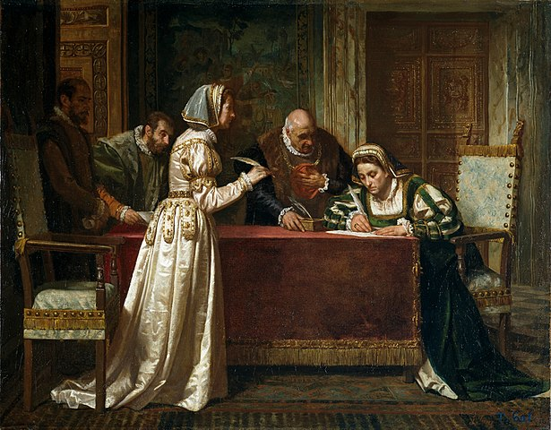 『貴婦人の和約』 1871年 フランシスコ・ホベール・イー・カサノバ  プラド美術館蔵