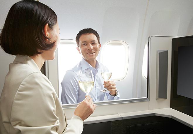 JALビジネスクラス乾杯