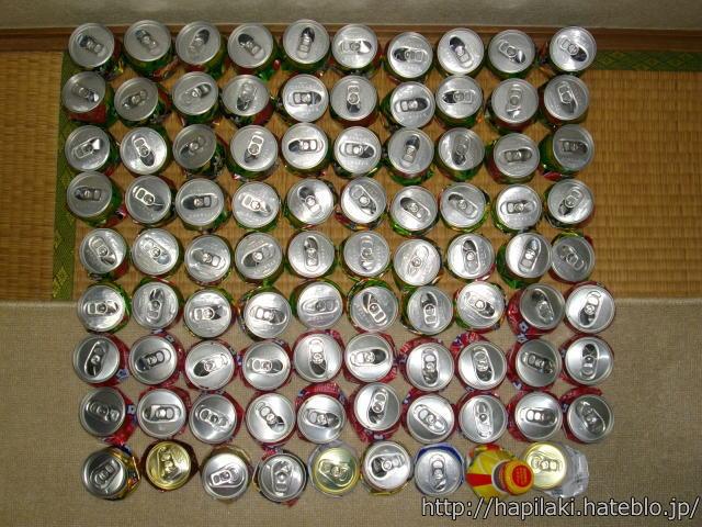 空き缶を潰して並べる