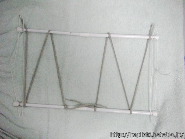 針金ハンガーと伸縮棒で洗濯物干し