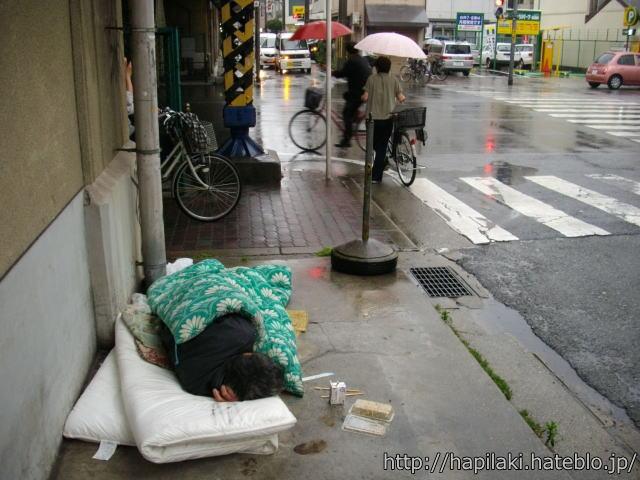 高架下に布団を引いて眠る人