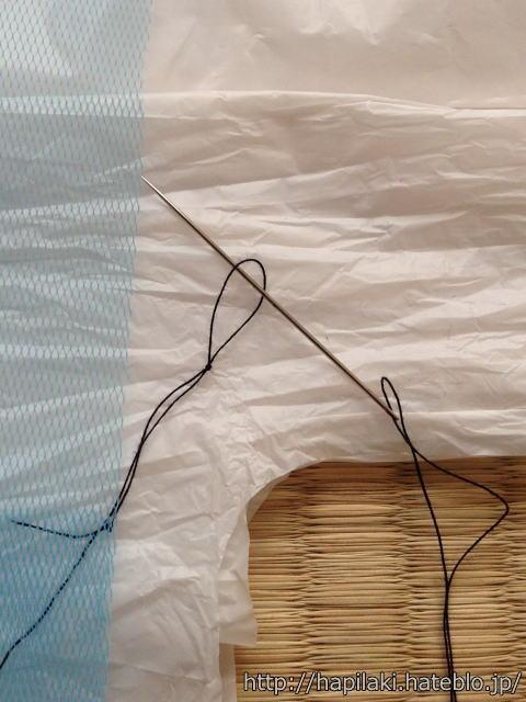 排水口ネットを縫い合わせる2