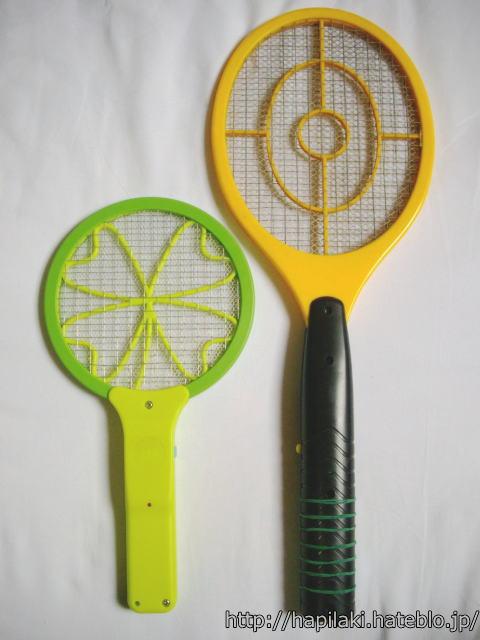 ナイス蚊っち(超小さいネット)と通常サイズ電撃ラケットを比較