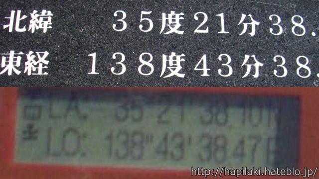 富士山頂GPSで緯度経度確認