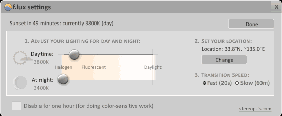 f.luxでディスプレイの明るさ調整