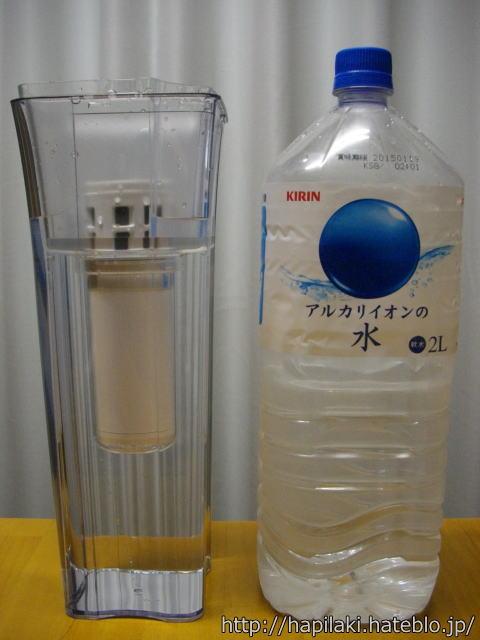 クリンスイポット型浄水器CP002と2Lペットボトルの比較