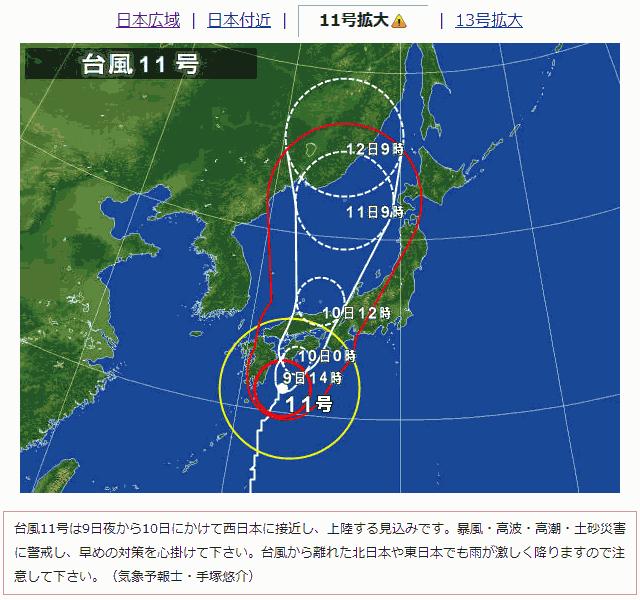 2014年台風11号の進路予想図