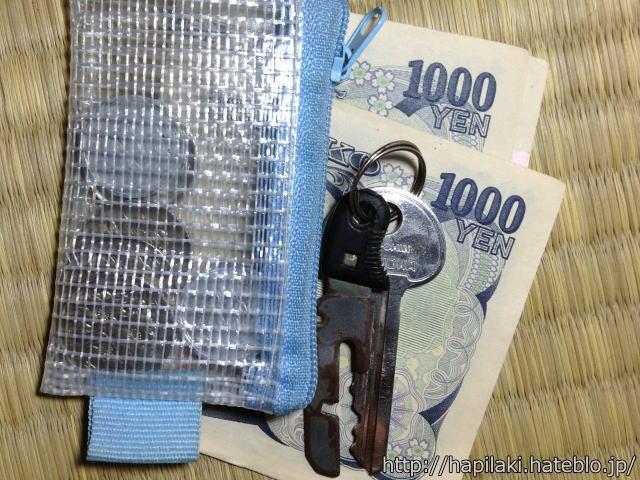小さなコインケース、紙幣、鍵