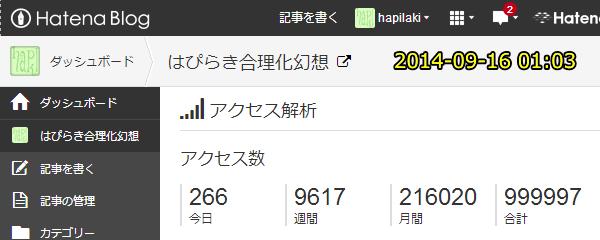 ブログ累計99万9997PV