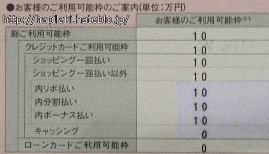 楽天カードのショッピング枠10万円とキャッシング枠ゼロ