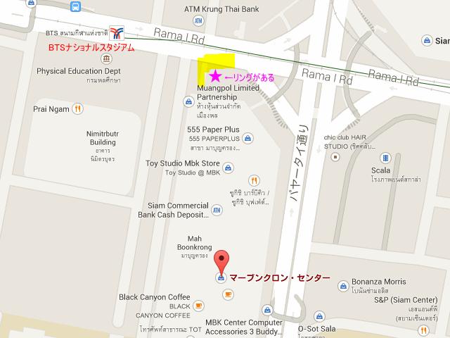 ムエタイ無料観戦できるBTSナショナルスタジアムとMBK付近の地図