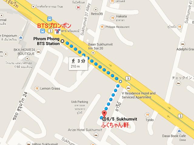 バンコクのふくちゃん軒の地図