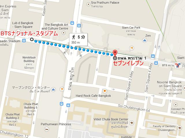 バンコクBTSナショナル・スタジアムから東へ徒歩5分のセブンイレブンの地図