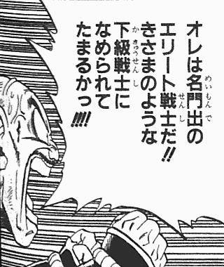 ドラゴンボールのナッパ:俺は名門出のエリート戦士だ!!きさまのような下級戦士になめられてたまるかっ!!!!