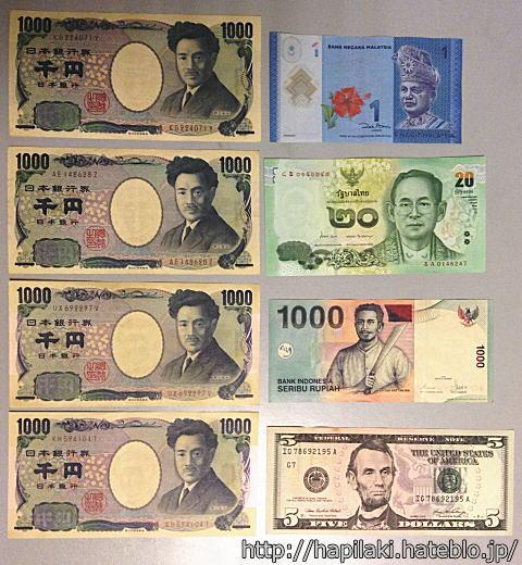 日本円とマレーシア/タイ/インドネシアの最小額紙幣を並べて比較