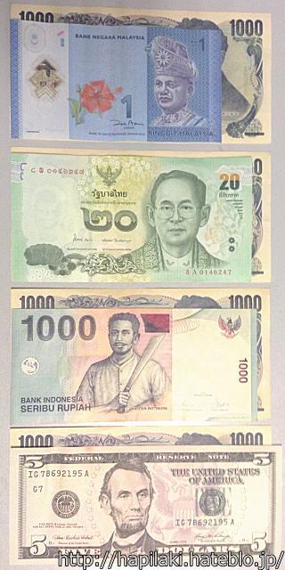 日本円とマレーシア/タイ/インドネシアの最小額紙幣を重ねて比較