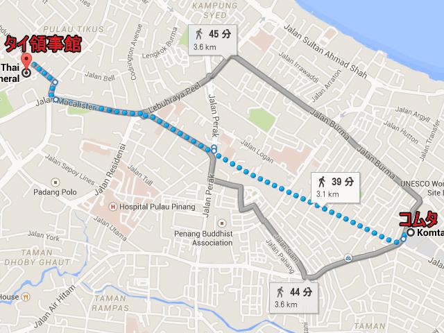 ジョージタウン・コムタからタイ領事館への地図、マレーシア・ペナン
