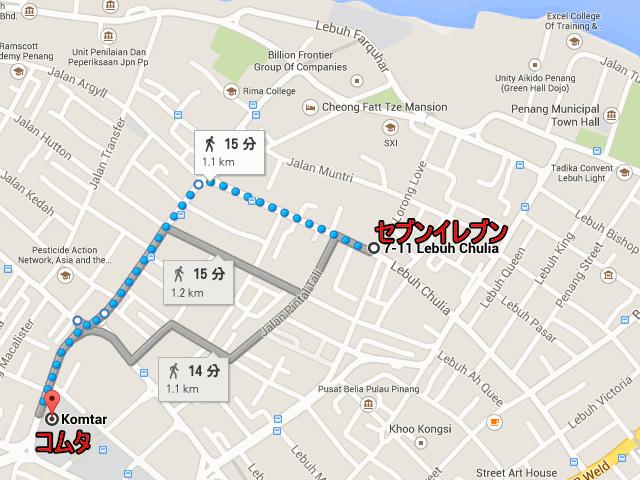 ジョージタウン・チュリアストリートのセブンイレブンからコムタへの地図、マレーシア・ペナン