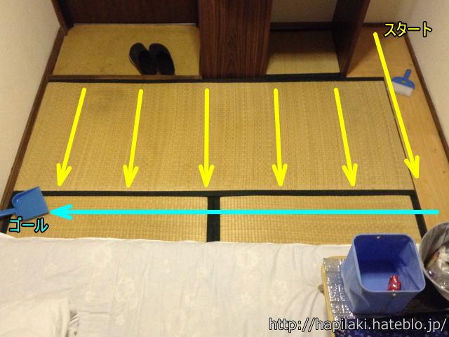 三畳一間でも掃除をする場所は実質的に二畳程度