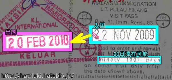マレーシアに91日間滞在したパスポートのスタンプ