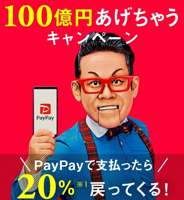 100億円あげちゃう&20%戻ってくるキャンペーン