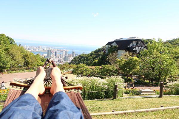 神戸布引ハーブ園 風の丘芝生広場 ハンモックからの景色