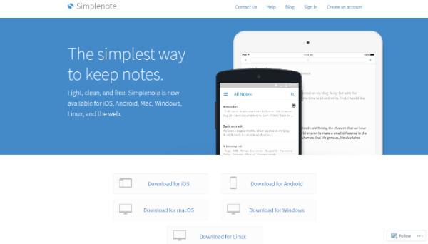 Simplenote 公式サイト