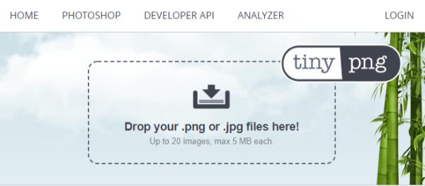 Tiny png 画像をドラック&ドロップする。