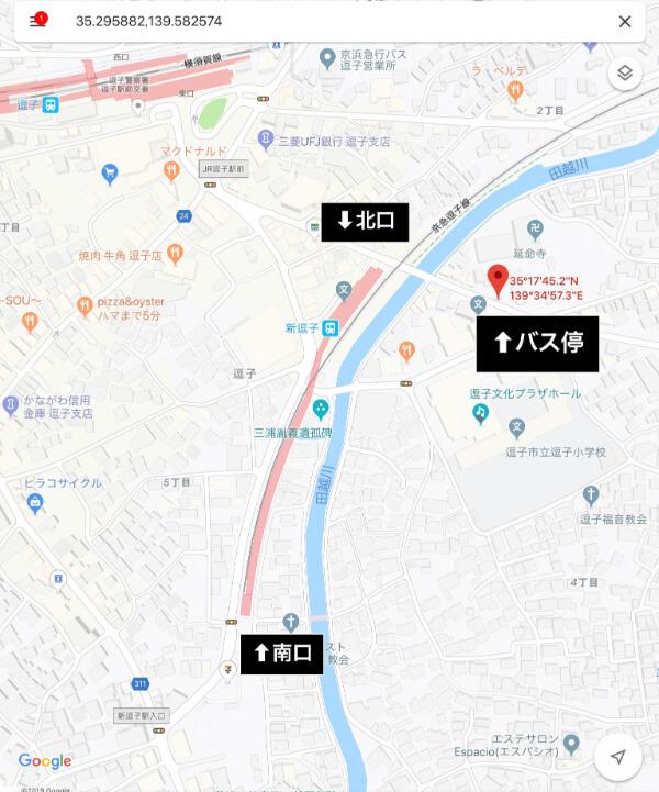 新逗子駅のバス停の場所です(グーグルマップより)