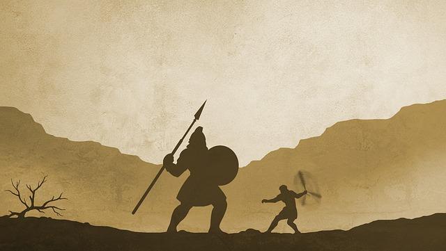 聖書に登場するダビデが巨人と戦っている