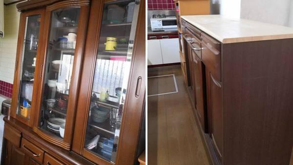 食器棚をキッチンカウンターにDIY