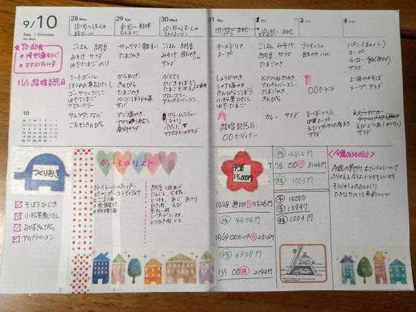 家計簿、献立ノート