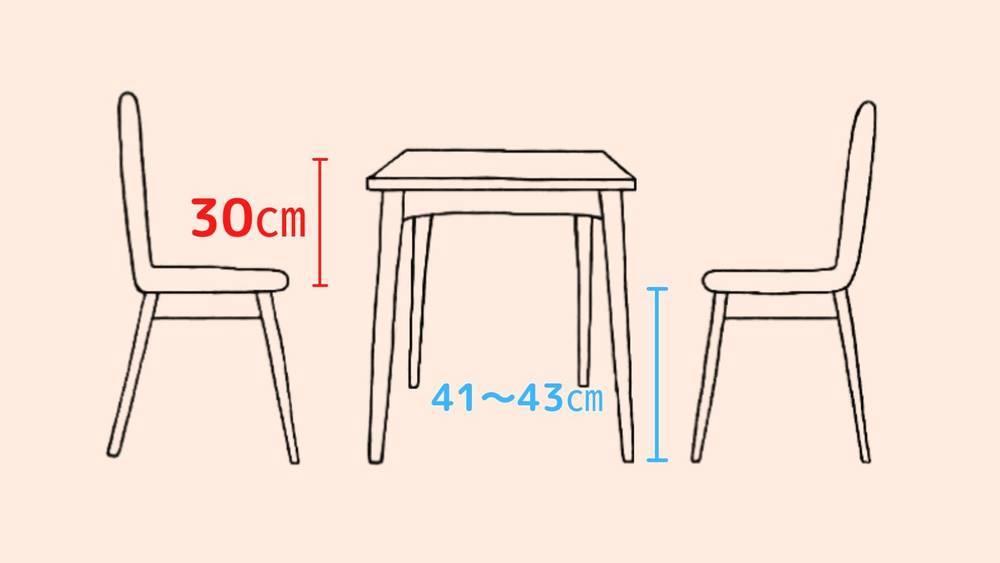椅子の座面から30㎝が天板の高さ